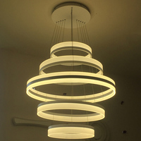 Modern Living Room LED Chandelier Lamp 5 Circles Acrylic Stairwell Lustre Chandelier Droplight Suspension Lumiere LED