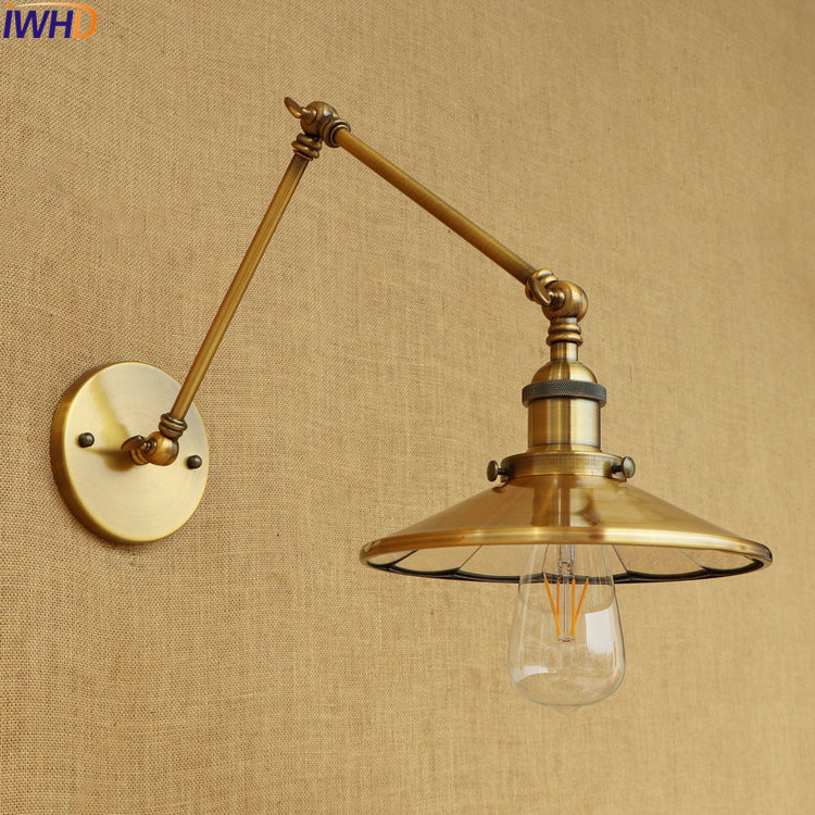IWHD Gold Copper LED Edison Wall Lamp Retro Loft Industrial Swing Long Arm Wall Light Fixtures Sconce Wandlampen Vintage недорого