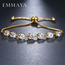 EMMAYA Adjustable Flower Bracelets for Women AAA Cubic Zirconia Silver Color Chain Bracelet