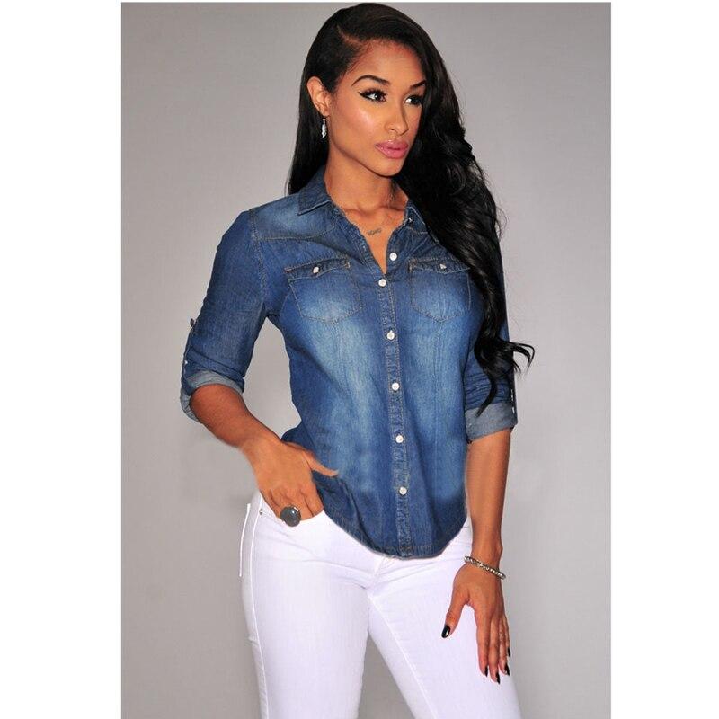 2fefe1f268e8 2017 Sexy Club Denim Blouse Women Jeans Shirt Casual Slim Long Sleeve Tops  Summer Autumn Denim Shirts Blusa-in Blouses & Shirts from Women's Clothing  on ...