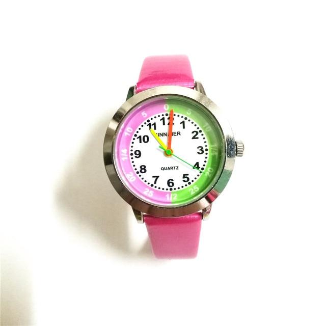 Quartz fashion students gift watch girl clock children's causal kids number cart