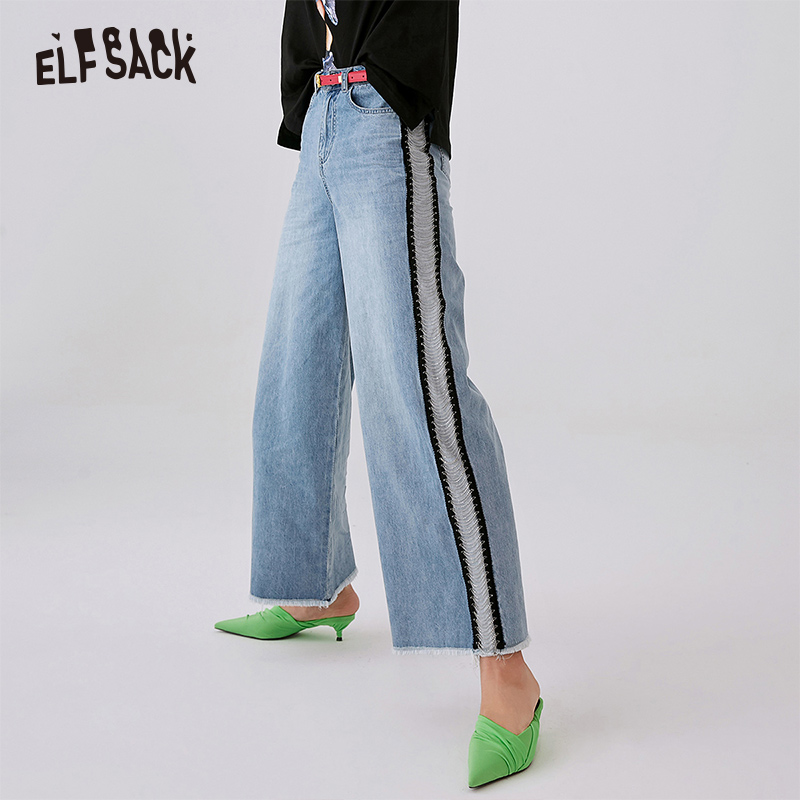 ELF SACK Loose Vintage Woman   Jeans   2019 New Denim Wide Leg Pants Oversize Straight Mid Waist Casual Cowboy Female Trousers