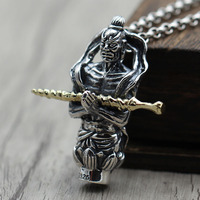 hang drop earth treasure bodhisattva Thai silver restoring ancient ways do old men and women with the lotus pendant