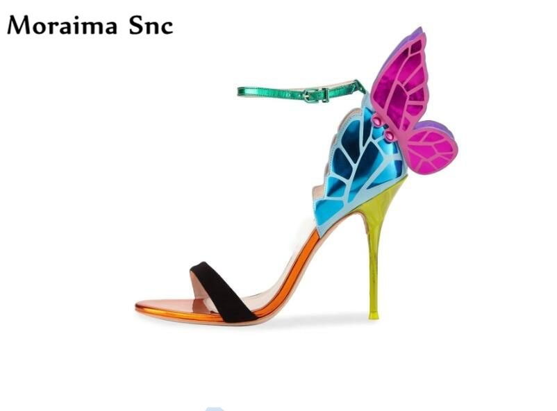Moraima Snc sexy ladies sandals open toe butterfly Decoration mixed colors chic thin high heels Ankle strap buckle wedding shoes moraima snc newest sexy women black string bead concise type sandals open toe thin high heel ankle strap hook solid party shoes
