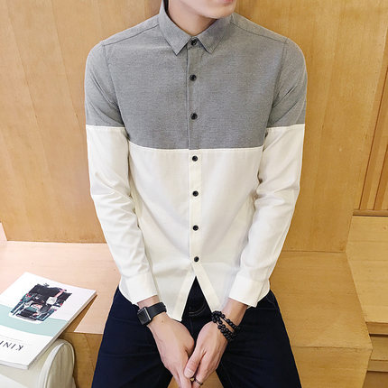 2017 Men's Fashion Shirt British Fashion Color Patchwork Slim Square Collar Men Long-Sleeved Fit Shirt Single-Breasted Shirt 4XL 2