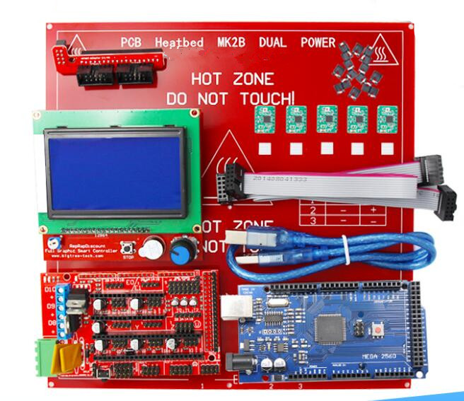 DuoWeiSi 3D Printer Parts RAMPS 1.4 control board 12864 LCD board Mega 2560 R3 A4988 MK2B heatbed 3D Printer kit ramps 1 4 control board mega 2560 r3 panel 2004 lcd display screen kit for 3d printer
