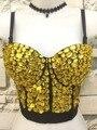 Único Rolden Rhinestone Perlas de Diamantes Gaga Bustier Push Up Bralette Bra Top Chaleco de Las Mujeres Del Club de Noche Más Tamaño J10