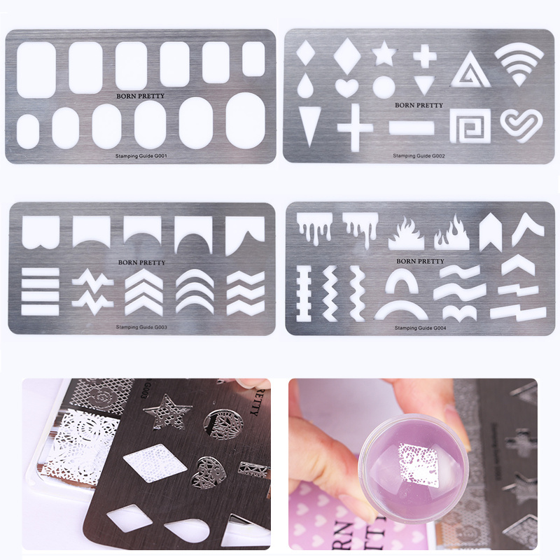 4Pcs Stamping Guide Templates Set Stainless Steel Full French Nail Tips Star Heart Cross Pattern Nail Style Stencil Plate Kit diy rectangular lattice pattern metal stencil plate carbon steel cutting die