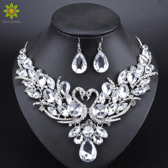 Clear Crystal Bridal Jewelry Sets Silver Color Swan Pendant Necklace Women Gift