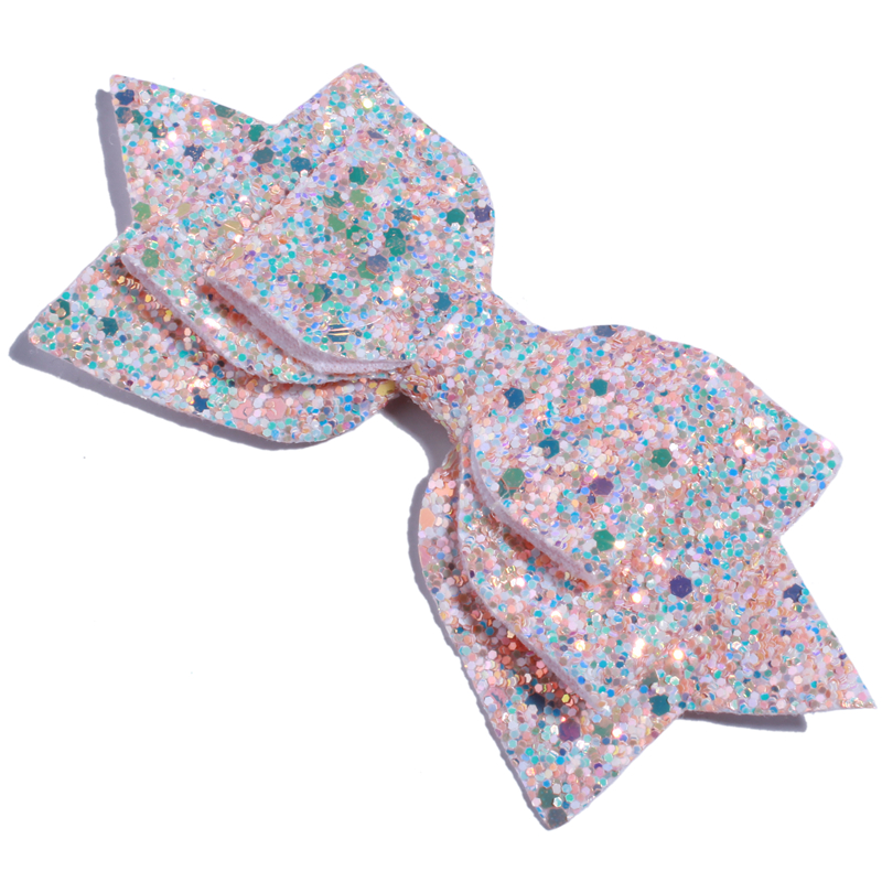 Image 4 - 120PCS 13CM 5 Big High Quality Boutique Glitter Synthetic  Leather Hair Bows For Hairpins Glitter Bowknot Bow For Girl WomenHair  Accessories