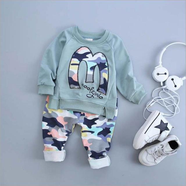 2016 a estrenar Niños ropa set niños deportes traje niños chándal niños shirt + pants largo gogging sudadera ropa casual