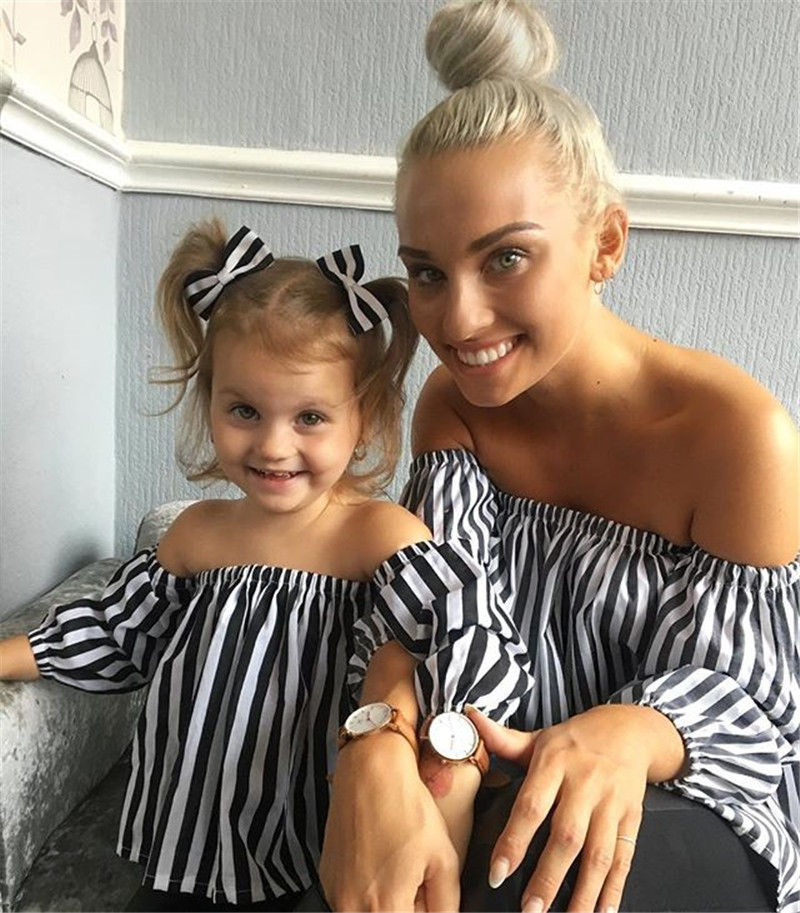 Fashion Family Matching Clothes White Striped Blouse Long Sleeve Off-shoulder T Shirt Mother And Daughter Clothes Family Look