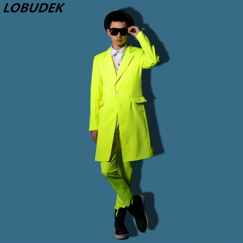 Yellow long jacket outwear coat slim star show male costume for singer dancer performance nightclub bar groom men bar fashion
