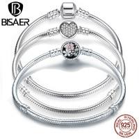 BISAER Genuine Bracelet Silver 925 Jewelry Snake Chain Bangle & Bracelet Silver 925 Original Jewelry Valentine Gift 2019 HJS902
