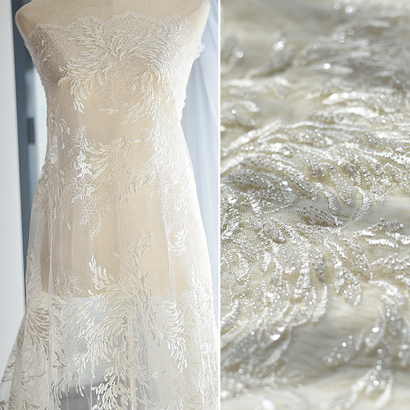 1Yard Width 130cm White Beaded Fabric Embroidery Flower Mesh Lace Fabric for Wedding Dress Fashion Clothing