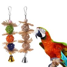 Parakeet Toys Bird Ball-Bell Parrot Chew Griiding Bite Teeth Strands Colorful Attractive
