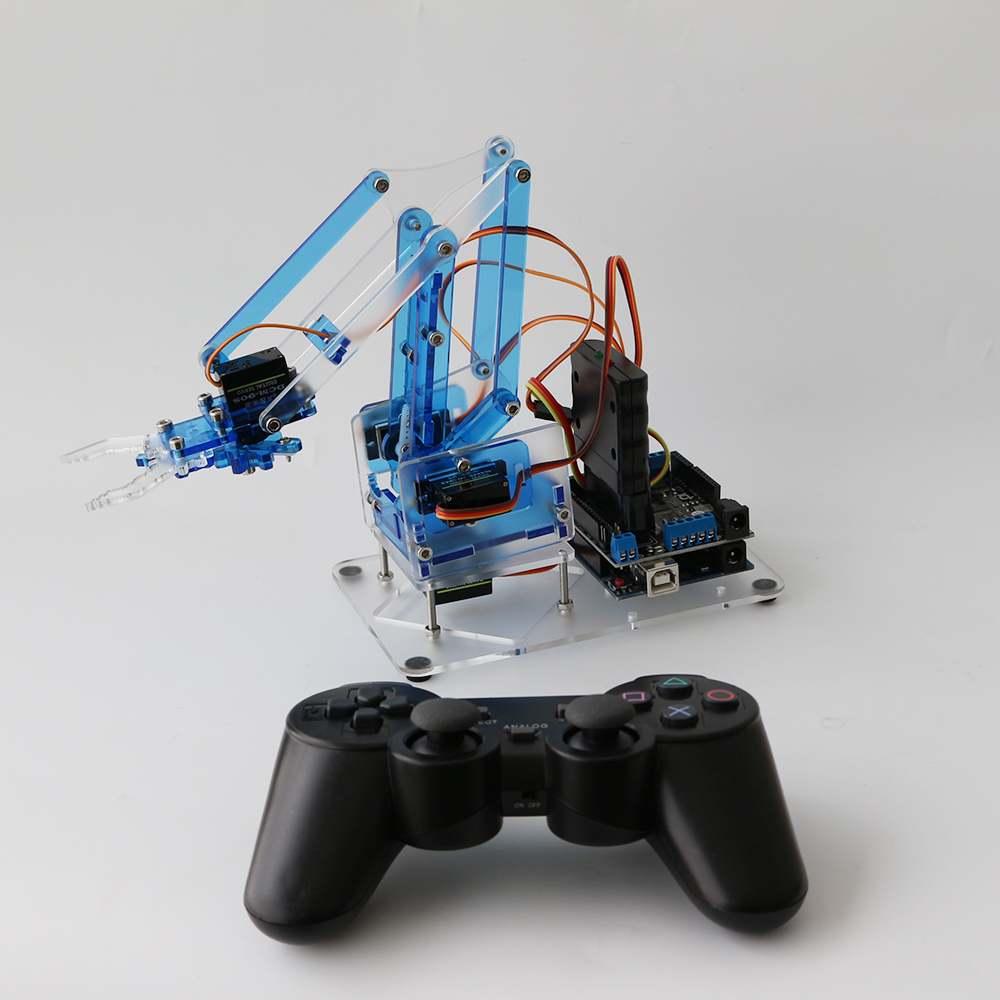 meArm DIY 4DOF Smart RC Robot Arm Kit & 9g Servo PS2 Stick 4 degree of freedom Orange/Blue/Lucency