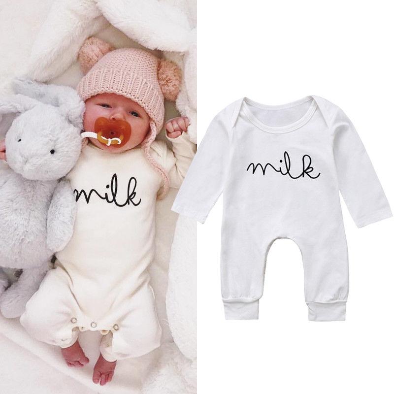 Для маленьких новорожденных мальчиков и девочек Комбинезон Топ молоко хлопок комбинезон  ...