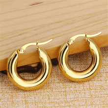 20mm New Simple High Quality Round Stud Earrings For Women Men Stainless Steel Punk  Ear Clip Fashion Jewelry wholesale