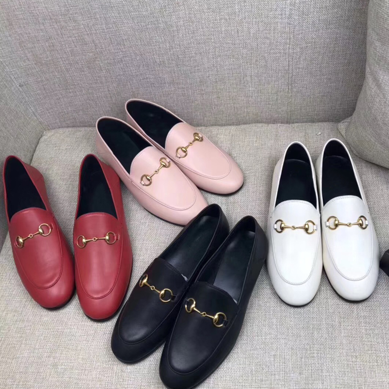 Classic flat woman shoes Soft leather Authentic cowhide lazy shoes Embroidery Casual Lady Metal buckle Dress shoes boat shoes 42(China)