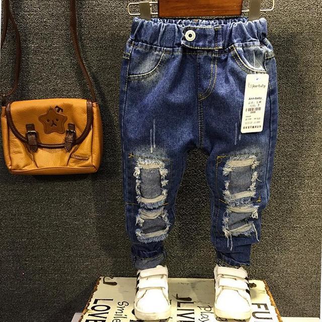 2016 novos Meninos Meninas calças de Brim 2-7Yrs Crianças Quebrados Buraco Jeans Calças Moda Calças Do Bebê Calças Infantis de Alta Qualidade Crianças ZJ04