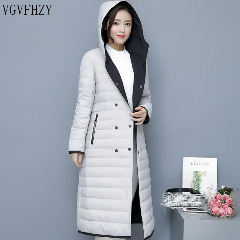 New 2018 Winter   Coats   Women Double-sided Wearing Hooded Thin light   Down   Jacket 90% Duck   Down     Coat   Female Warm Long Parka Outwear
