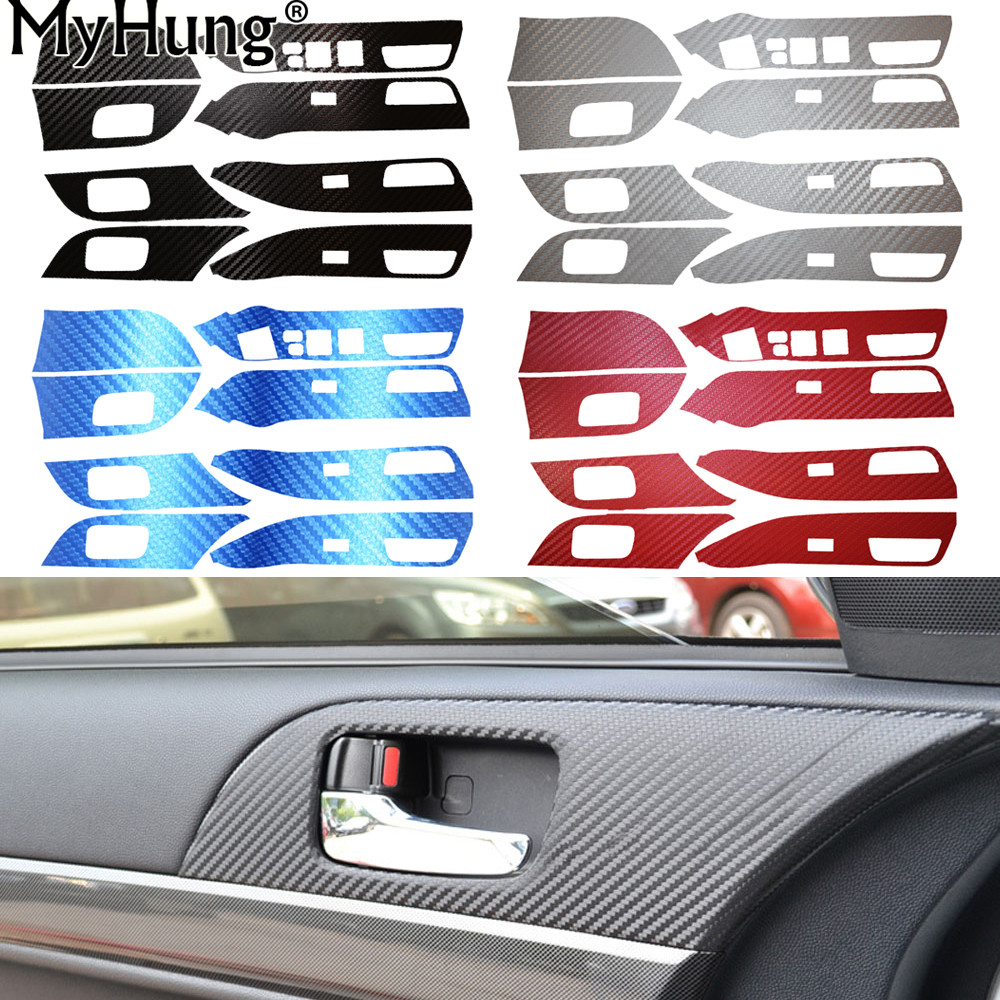 For MITSUBISHI Lancer EX Carbon Fiber 4 Door Armrest Handle Carbon Fiber Protection Car Stickers 8pcs per set Car-Styling ветровики prestige mitsubishi lancer 10 sd hb 07