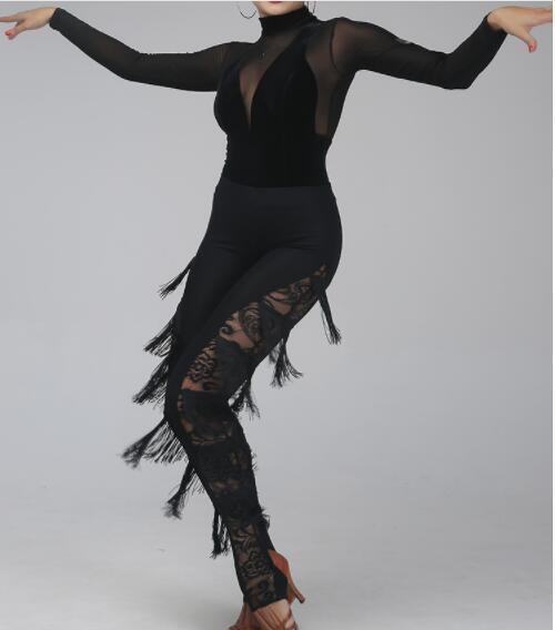 seluar Baru tassel black latin dance seluar latin Tango Dance cha cha latin dance fringe pants trousers