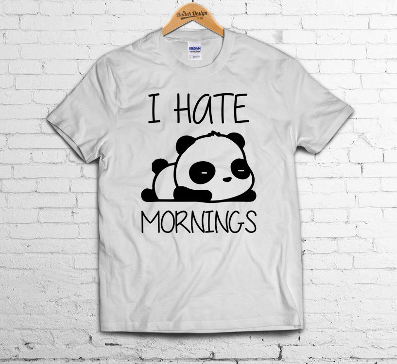 I HATE MORNINGS T SHIRT Sleepy Panda Zoella Present Tumblr Geek Hipster Cute TOP Funny Tops Tee New Unisex Funny free shipping in T Shirts from Men 39 s Clothing