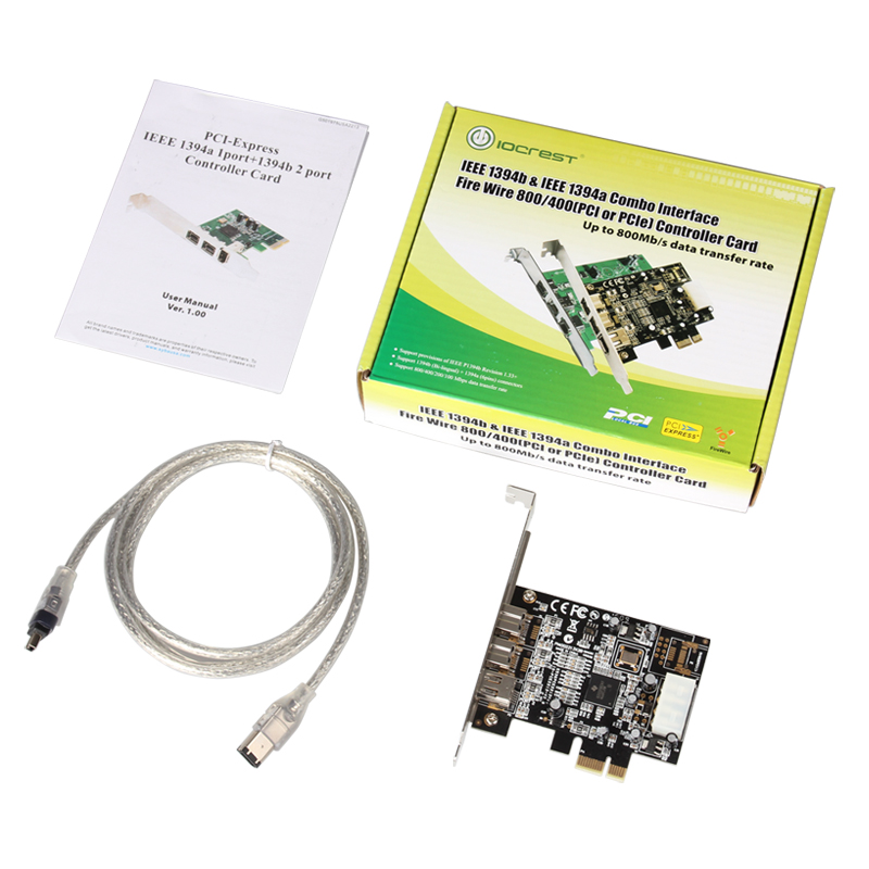 TI2213 Chipset 1394 Video Capture Card PCI-Express to 2-port 1394b + 1-port 1394a Firewire Adapter w/ Cable