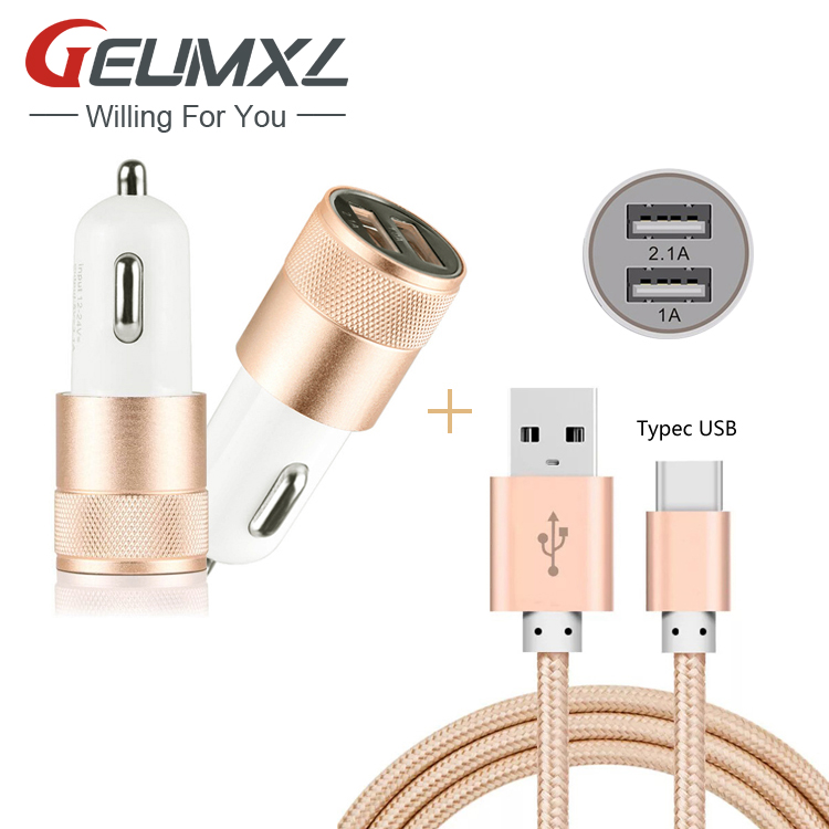 Type C USB 3.1 Charging Data Cable + Dual USB Car <font><b>Charger</b></font> Power Adapter for <font><b>Samsung</b></font> <font><b>Galaxy</b></font> TabPro S / C7 Pro / A3 A5 <font><b>A7</b></font> 2017 image