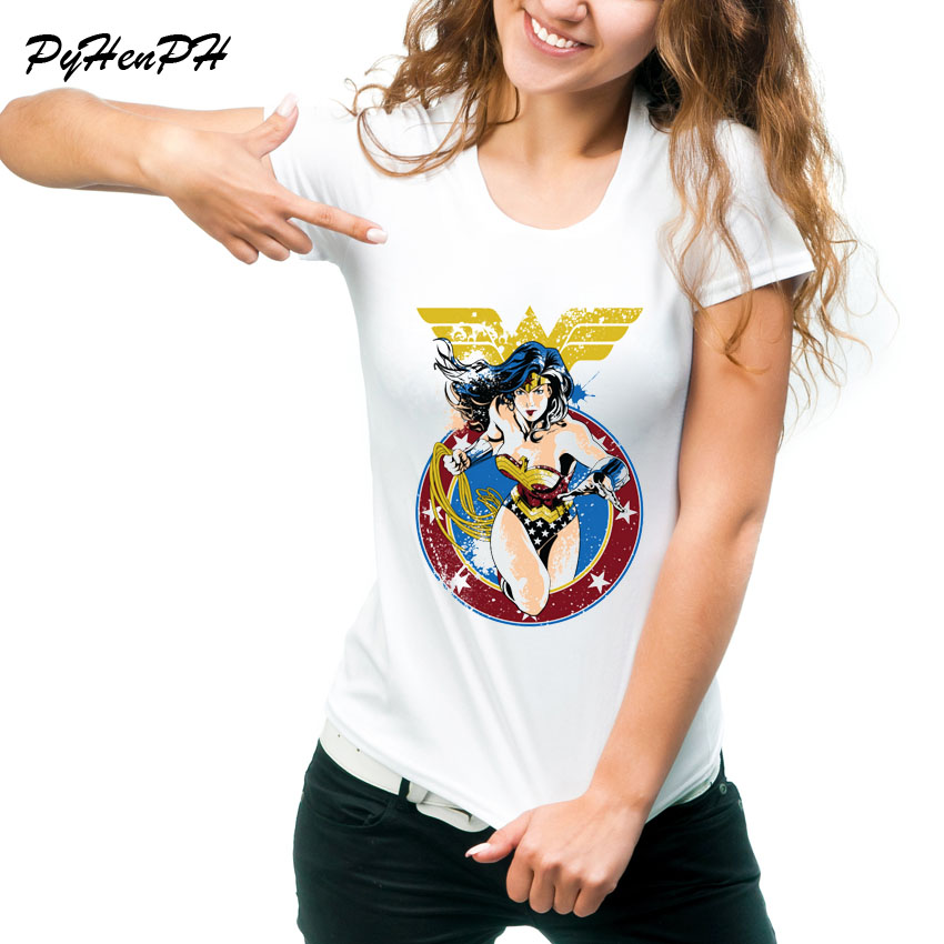 2018 Newe Wonder Woman Printed T-Shirt Women's Summer Superman Funny Tshirts Fashion Cool Ladies Short Sleeve Tee Tops