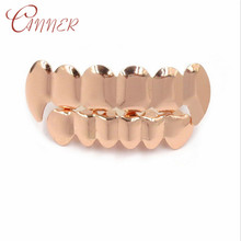 CANNER Hip Hop Teeth Grillz Rose Gold Top & Bottom Body Jewelry Women Men Punk Cosplay Party Rapper Gift Mouth Tooth Grills