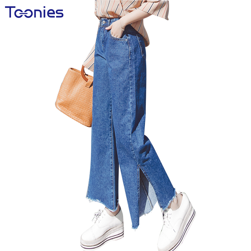 2018 Summer New Fashion Denim Wide Leg Pants Women High Street Bottom Split Mom Jeans Woman Pants Loose Jeans Trousers Female
