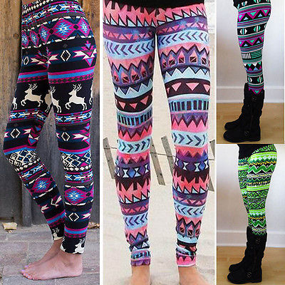 High Quality 2018 Cozy Women Winter Christmas Reindeer Snowflake Striped Knitted Elastic printed Leggings Xmas Fitness Pants
