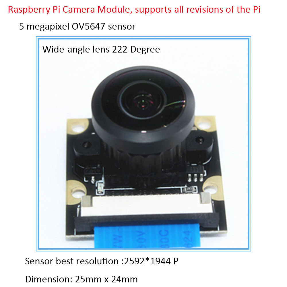 Raspberry Pi Camera Module Adjustable-focus Wide-angle Lens 222 Degree With Infrared LED Supports Night Vision OV5647 For RPi