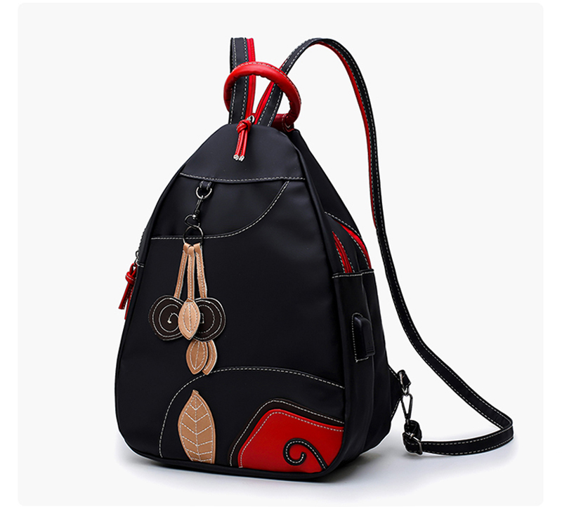 2018 Women Nylon Backpack Teenage School Backpacks Schoolbag for Teenagers Girls Double Shoulder Bags Female USB Charging Bag 16 inch anime teenage mutant ninja turtles nylon backpack cartoon school bag student bags double shoulder boy girls schoolbag page 8