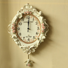 European Garden Ornament luxury watch clock Home Furnishing resin relief angel living room wall clock