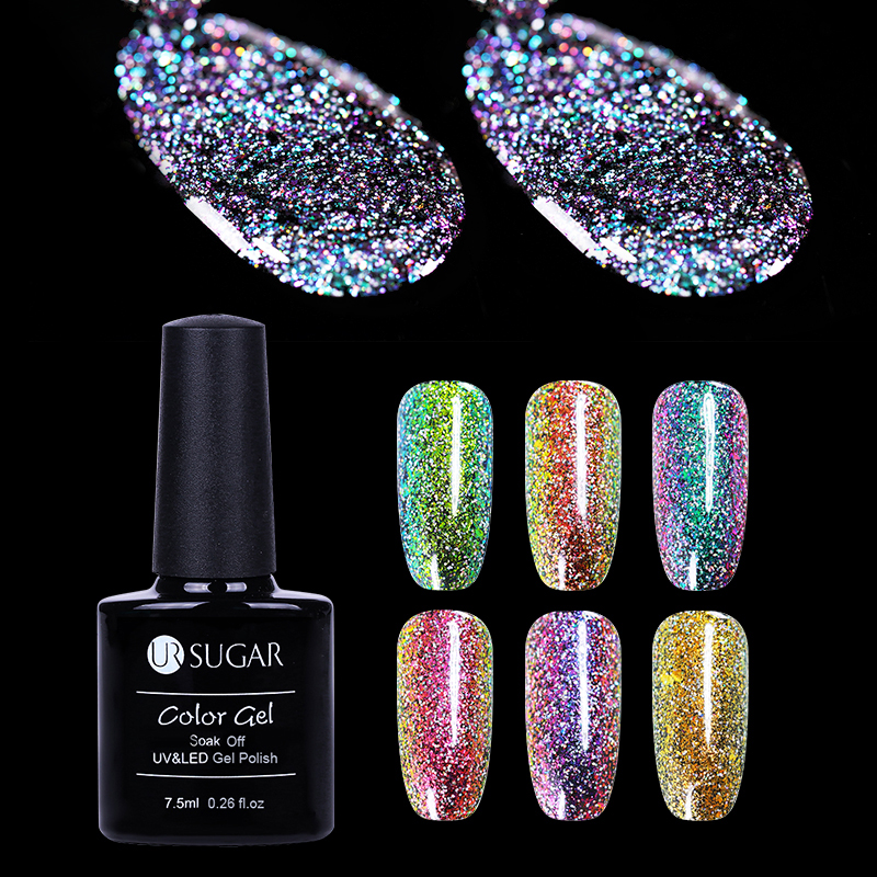 UR SUGAR 7.5ml Chameleon Holographic Gel Polish Starry Sparkle Glitter Soak Off UV Gel Varnish Long-lasting Nail Art  Lacquer