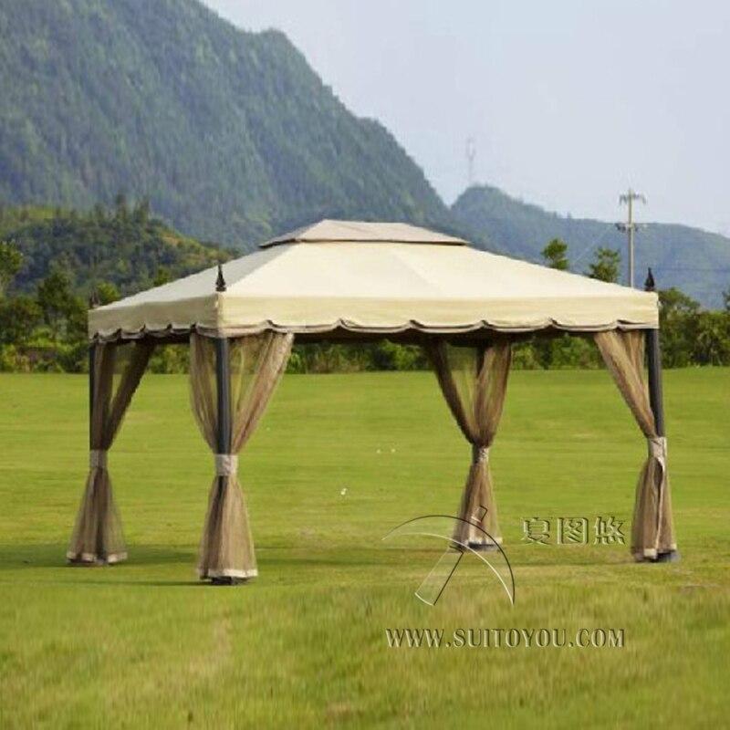 €330.5  3x3.6 mètres de luxe en aluminium patio gazebo tente jardin ombre  pavillon toit meubles maison protection contre la pluie avec gaze-in ...