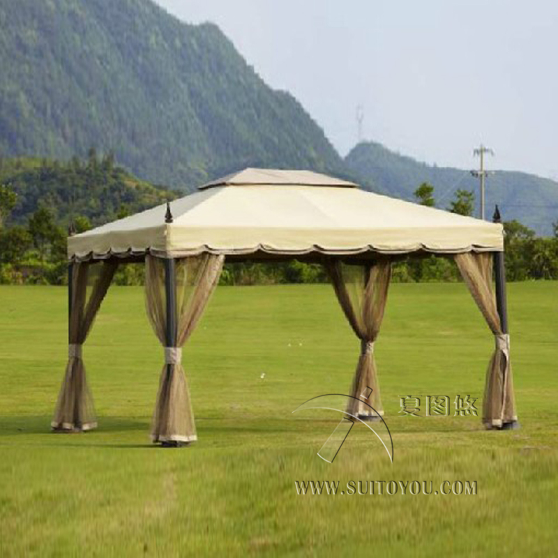 3x3 6 meter deluxe aluminum patio gazebo tent garden shade for Outdoor furniture gazebo