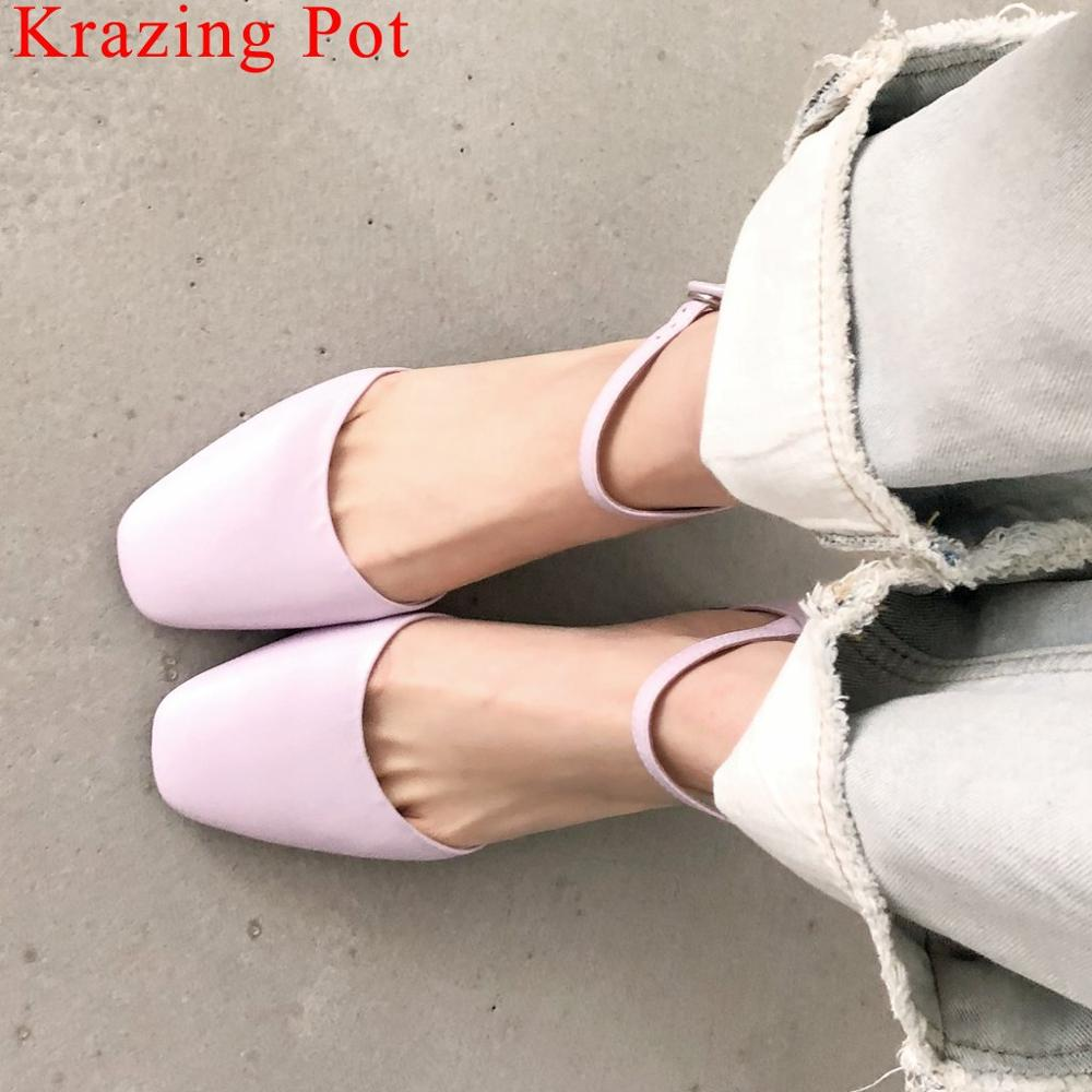Krazing Pot simple style thick med heels full grain leather square toe women pumps buckle strap