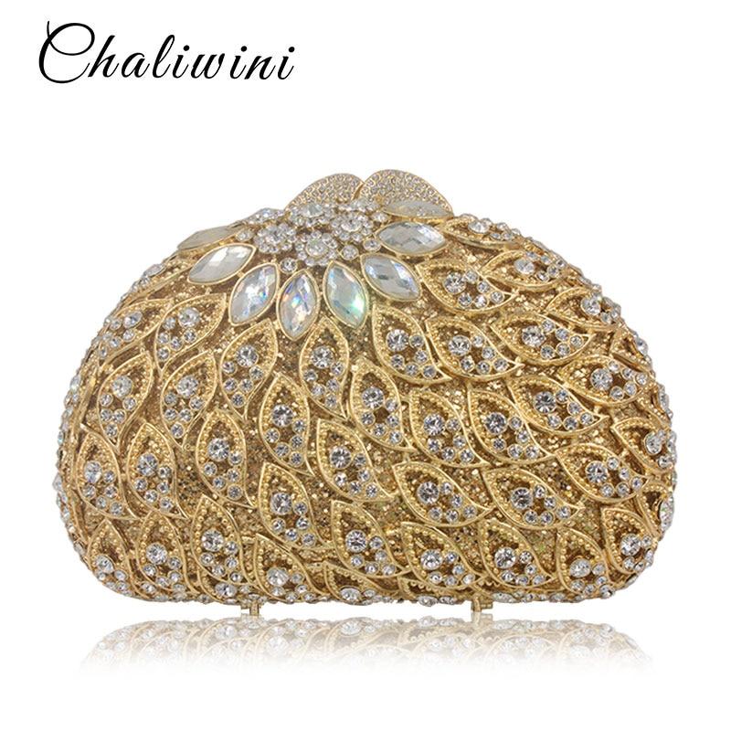 Pochette pour femmes sacs évider sac de soirée en cristal sac à main de fête d'or dames embrayages de mariage avec longue chaîne