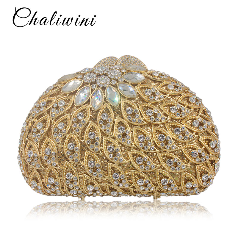 Women Clutch Bags Hollow Out Crystal Evening Bag Golden Party Purse Ladies Wedding Clutches With Long Chain long fashion crystal evening bags designer clutch famous brand women golden evening bags with chain women shoulder bag sc519