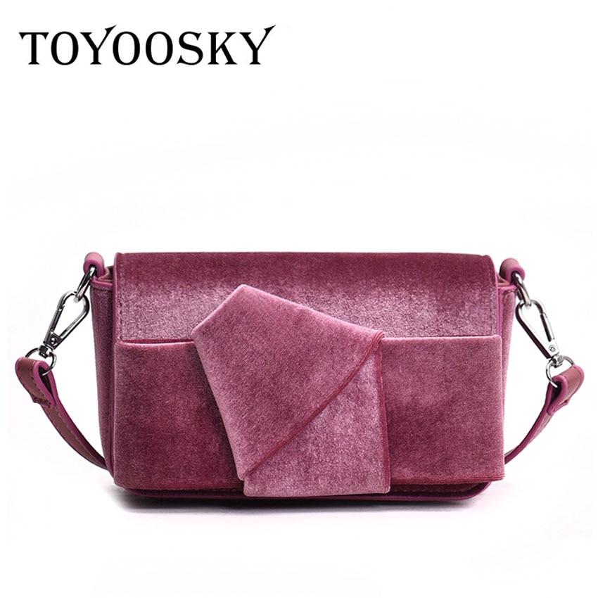 775ac094e6e9 TOYOOSKY Bow Women Crossbody Bags Small Soft Velvet Clutches Purse Fashion  Velour Messenger Bag Ladies Handbags bolsas feminina-in Shoulder Bags from  ...