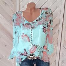 Thin Chiffon Shirt Short Sleeve V-Neck Print Shirts Plus Size 5XL Spring Autumn Blouses 2019 Women Blouse Sexy Tops