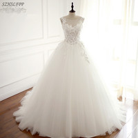 Vintage Korean Lace Up Ball Gown Wedding Dresses Sheer Neck Vintage Appliques Court Train Tulle Cheap
