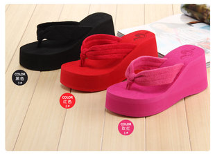 ! 2014 new Korea Fashion Summer women's platform ultra high heels beach towel flip flops shoes - Super-Mom store