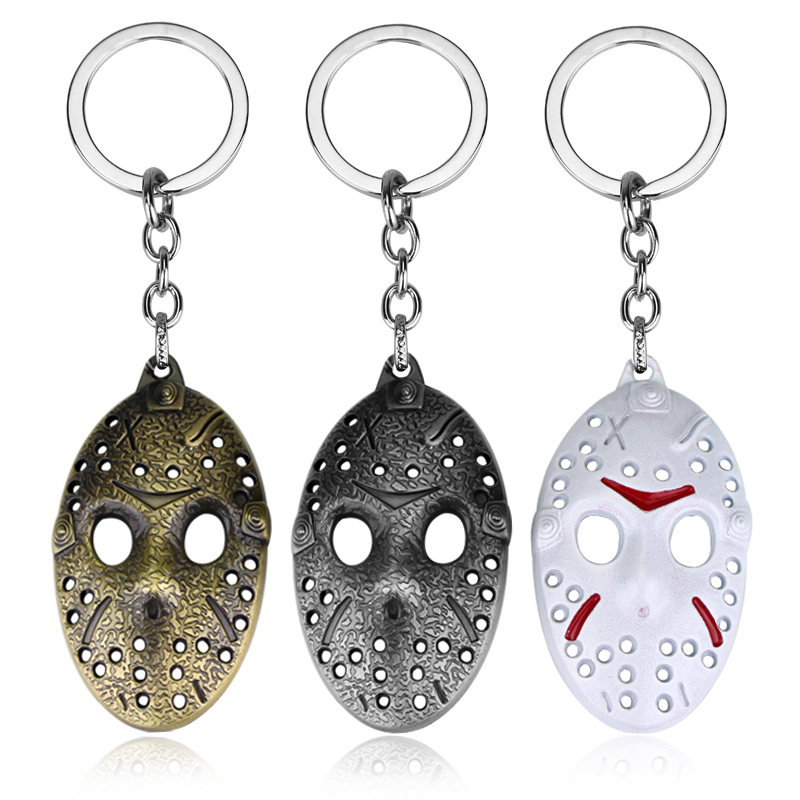 Hot Sale Friday the 13th Keychain White Jason Hockey Personal Mask Keyring Cosplay Black Friday Keychain AD Gift Jewelry for Car