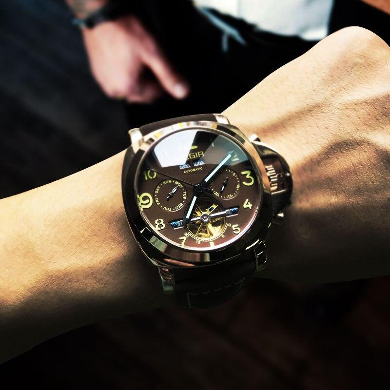 Megir luxus männer armee marke mechanische uhren mode relogio masculino leder armbanduhr mann skeleton stunde für männlichen 3206AG-in Mechanische Uhren aus Uhren bei  Gruppe 1
